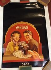 More details for photograph of vintage coca-cola original boy & girl, us drink adverting, picture