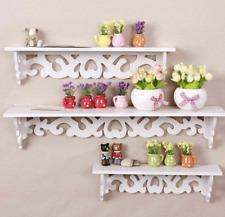 Set of 3 White Floating Wall Shelves Display Storages Shelf Wall Wood Unit Rack
