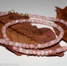 Regenbogen Mondstein Kette mit Korallen – 925 Silber vergoldet – rosa blau 55ct
