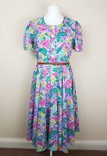 M&S VINTAGE ST MICHAEL FLORAL BUTTON FRONT FIT FLARE TEA DRESS LAND GIRL WW2 12