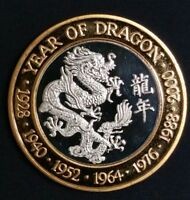 1/2 Oz .999 Fine Silver Coin Year of the Dragon 2000 Proof Super Rare World Coin
