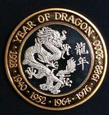 1/2 Oz .999 Fine Silver Coin Year of the Dragon 2000 Proof Super Rare World Coin