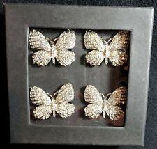 Tahari Home Butterfly Napkin Rings Rhinestone Silver New! Fast Ship!