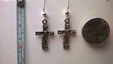 Cross earrings Silver (Nickel free) 1 3/4' dangle hooks anytime wear