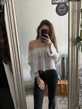 Zara White Lace Bardot Shoulderless Summer Top Size M ( Fits 6 8 Best )