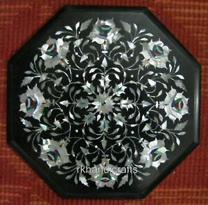 13 Inches Marble Side Table Top Inlay with Mother of Pearl Coffee Table for Home