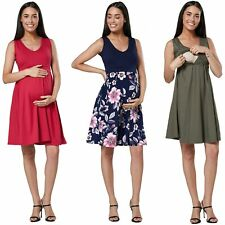Happy Mama. Women's Maternity Nursing Layered Skater Dress Sleeveless. 685p