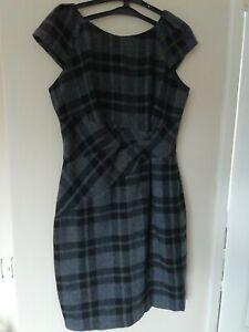 "Shift Dress 12 L38"" M & S Grey tartan check cap sleeve warm feel wool rich"