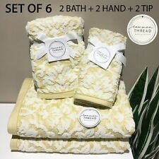 SET OF 6 New Common Thread Bath Hand Tip Towels Set Yellow w/ Raised Damask