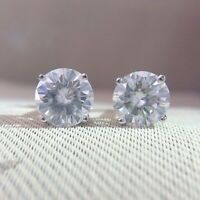 5Ct Round Brilliant Cut Moissanite Solitaire Stud Earrings 14k White Gold Finish