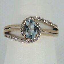 Stunning 10k Rose Gold Genuine Blue Topaz & White Topaz Ring Size 6 - 6.25