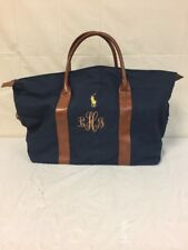 "INITIAL L J H Ralph Lauren Bag Blue With Brown Leather 22""Wx14""H"