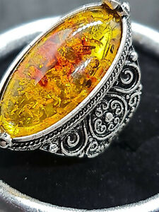 gorgeous silver filled antique style Amber ring size 8 us