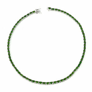 Natural Russian Diopside Tennis Necklace 18 Inch in Sterling Silver Jewelry