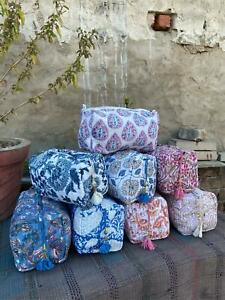 Block Printed Large Toiletry Bag, Waterproof Wash Bag, Makeup Bag, Cosmetic Bag