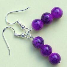 Purple Crackle Glass Drop Earrings With Sterling Silver Hooks LB1022