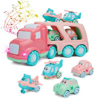 5 in 1 Transport Cargo Car Toy Construction Powered Carrier Truck Set Kids Gift