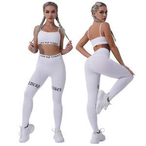 Women Pure Color Tracksuit Letters Print Sport Bras Tops + High Waist Pants Set