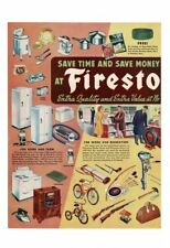 VINTAGE 1947 FIRESTONE ONE STOP SHOP HOUSEHOLD BICYCLES SPORTING TIRES AD PRINT
