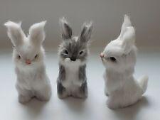 Realistic Rabbit Handmade Easter Bunny Fur Animal Figurine Holiday lot of 3