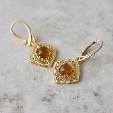 Amber Earrings 14k Gold Plated Earrings Dangle Earrings Vintage Amber Cabochon