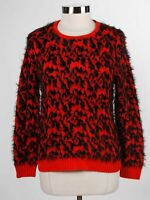 Two By Vince Camuto Red Black Cotton Blend Women's Faux Fur Sweater Sz XS