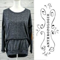 Anthropologie ELLA MARA Top Long Sleeve Tunic Womens M Blue Knit $68 Elbow Patch