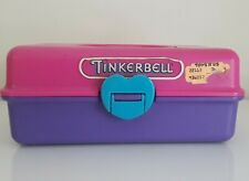 VINTAGE 1991 REDBOX TINKERBELL MAKEUP ORGANIZER CASE CABOODLE PINK PURPLE 22102