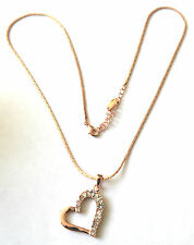 ROSE GOLD PLATED SNAKE CHAIN WITH HEART PENDANT STERLING SILVER CHAIN 0027