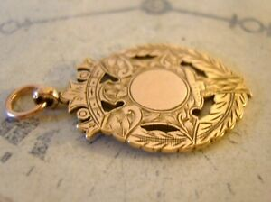Victorian Pocket Watch Chain Fob 1890s Antique 9ct Rose Rolled Gold Shield Fob