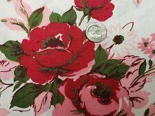 Best Vintage Feedsack Quilt Fabric 40s Pink Red Roses Foliage Flour Sack Estate
