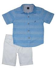Nautica Boys Blue Shirt 2pc Short Set Size 4 5 6 7 $59.50