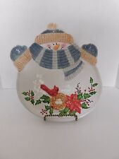 Palm Tree Co. Snowman & Cardinal Embossed Serving Canape Plate