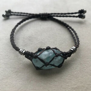 Exclude Stone- Tribal Interchangeable Macrame Pouch Stone Bag Bracelet Rope