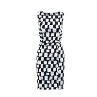 Oscar de la Renta White Blue Cotton Sleeveless Printed & Pleated Dress SZ 2