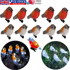 5 LED Clip On Acrylic Robins Lights Garden Outdoor Birds Christmas Decor Xmas