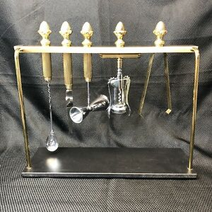 MCM Gold Tone Brass Bar Tool Set Cocktails w/ Gold And Black Base Stand