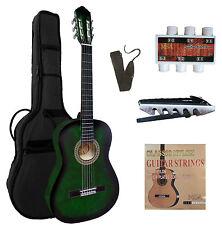 4/4 Gitarre, Konzertgitarre grün-schattiert C27 im Set, Tasche, Band, Zubehör, ö