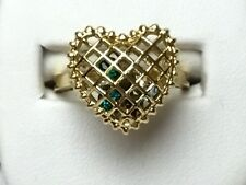 Ladies Puffed Heart Ring  - Lattice Cage w/ Colored Stones Inside, Gold Plated