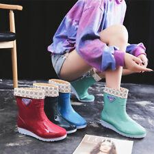 Women Ladies Rubber Short Rain Shoes Chelsea Boots Flat Ankle Boots UK3-6.5 Size