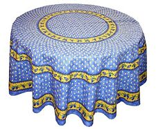 """LE CLUNY, MONACO BLUE FRENCH PROVENCE COATED COTTON TABLECLOTH, 70"""" ROUND, NEW"""
