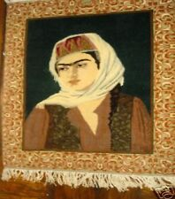 Antique persian rug hand made wall art decor portrait of a Lady  women signed