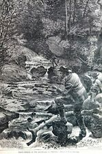 Trout Fishing 1871 MOUNTAINS of VIRGINIA FISHERMEN Stream Matted Antique Print