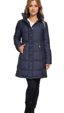 ELLEN TRACY Womens Navy Blue Quilted 3/4 length Down Coat Medium  New with tags
