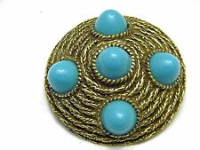 Beautiful Faux Turquoise and gold tone Pin Vintage Jewelry