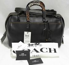 COACH 58689 Patchwork Snake Handle Rogue 36 Satchel Crossbody Bag Black $1,300