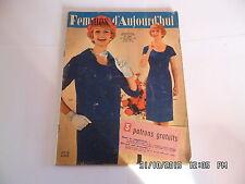 FEMMES D'AUJOURD'HUI AVEC PATRON N°707 20/11/1958 MODE COUTURE TRICOT    I33