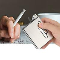Metal 20Pcs Cigarettes Holder Automatic Cigarette Box Case Lighter USB Charging