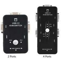 2/4Port USB 2.0 KVM Switch Splitter Box Mouse Keyboard VGA Video Monitor Adapter