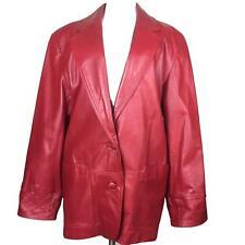 Vintage WINLIT womens leather jacket Medium red boyfriend blazer coat 01401